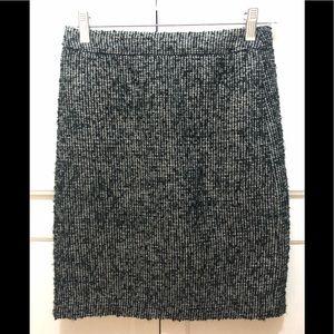 J Crew black metallic gold white pencil skirt 0